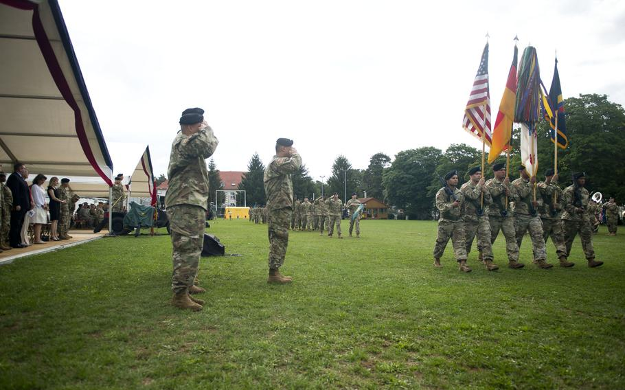 Soldiers march past the new 7th Mission Support Command commander during the unit's change-of-command ceremony at Daenner Kaserne, Germany, on Friday, Aug. 4, 2017. Brig. Gen. Frederick R. Maiocco Jr. took over command from Brig. Gen. Steven Ainsworth.