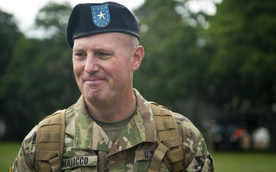 Brig. Gen. Frederick R. Maiocco Jr., 7th Mission Support commander, answers questions during an interview after the MSC's change-of-command ceremony at Daenner Kaserne, Germany, on Friday, Aug. 4, 2017. Maiocco was previously the Army Reserve's 85th Support Command commander in Arlington Heights, Ill.