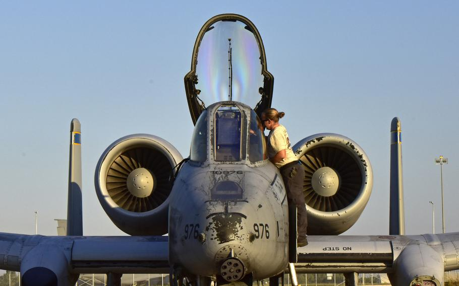 A maintainer from the 447th Expeditionary Aircraft Maintenance Squadron prepares an A-10 Thunderbolt II July 11, 2017, at Incirlik Air Base, Turkey.