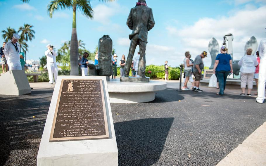 The 15th Lone Sailor statue dedication took place at the Pearl Harbor Visitor Center on the Navy's 242nd birthday, Friday, Oct. 13, 2017.