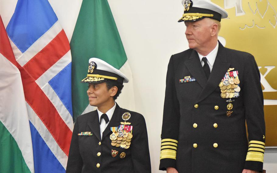 Adm. Michelle Howard, left, and Adm. James Foggo stand during a change of command ceremony on Oct. 20, 2017, at Allied Joint Force Command Naples auditorium. Foggo took the reins of U.S. Naval Forces Europe-Africa and Allied Joint Force Command Naples. Howard plans to retire by January.