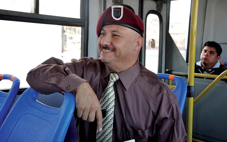 Hector Barajas, founder of the Deported Veterans Support House in Tijuana, Mexico, takes a bus to the Mexico-U.S. border on June 2, 2016, where he was meeting U.S. immigration officials for fingerprinting.
