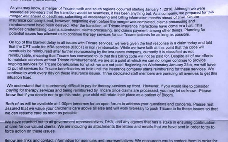 This Jan. 19 letter from the owners of Bloom Behavioral Solutions in Jacksonville,Florida, notifies parents that due Tricare's failure to pay reimbursements following the changeover on Jan. 1, they will have to begin slashing autism therapy services. The company was able to continue providing some services after taking out a loan to pay salaries.