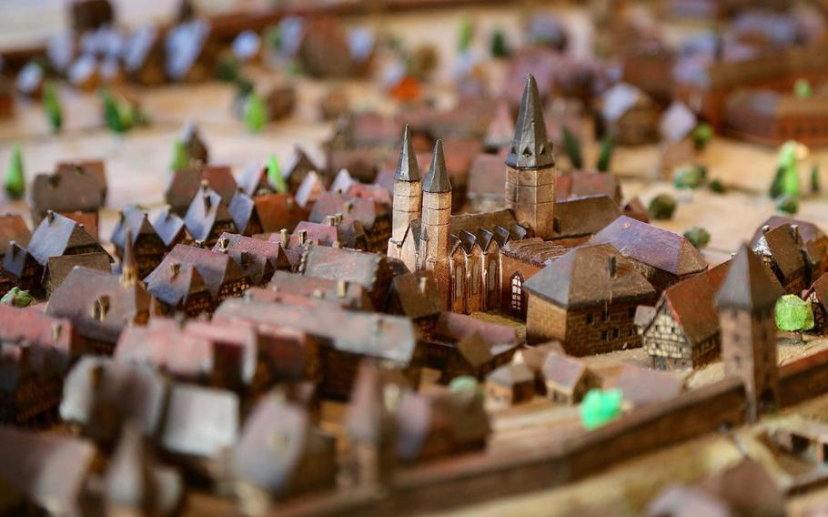 Kaiserslautern, Germany's Collegiate Church as depicted in a diorama in the Theodor-Zink-Museum. Originally established by an order of Catholic monks, the church is now used by a Protestant congregation.