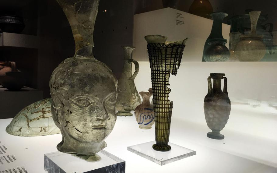 Glassware from Roman times on display at the Germanisches National Museum in Nuremberg, Germany.