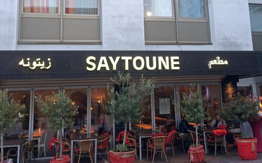 The exterior of Saytoune restaurant in Wiesbaden is unassuming, but the interior is well-decorated and the food is fresh, varied and authentic Mediterranean and Middle Eastern cuisine.