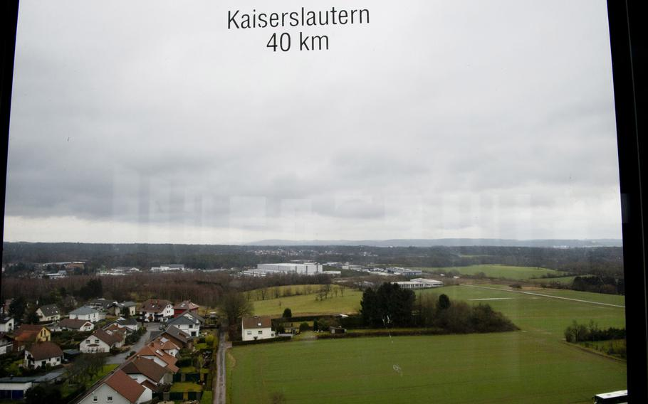 Cities, towns and distances are displayed on the windows at the top of the Saarland Mining Museum's 120-foot-tall tower in Bexbach, Germany.