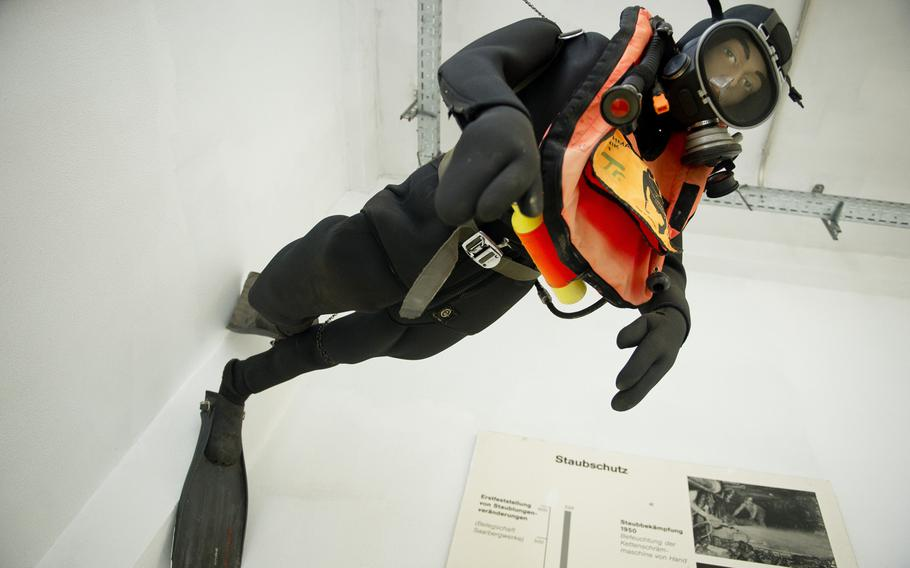 A mannequin sports rescue diving gear that could be used in the event of mine flooding.