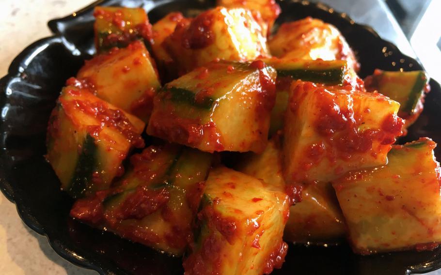 Cucumber kimchi from Korean Restaurant Bab, in Grafenwoehr, Germany.