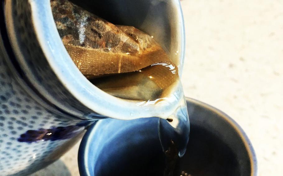 Barley tea from Korean Restaurant Bab, in Grafenwoehr, Germany, Friday.
