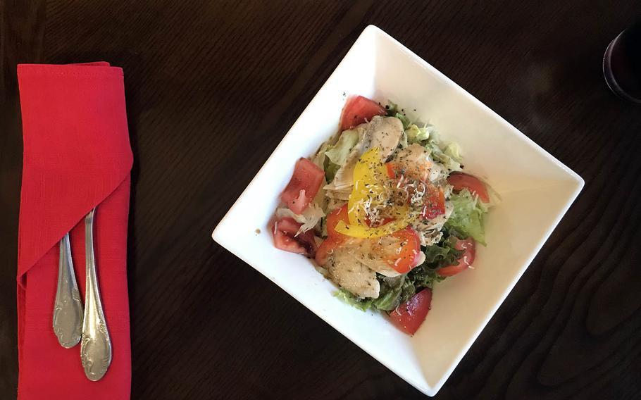 Chicken salad at Joy Cook, an Italian restaurant outside the pedestrian gate at Camp Humphreys, South Korea.