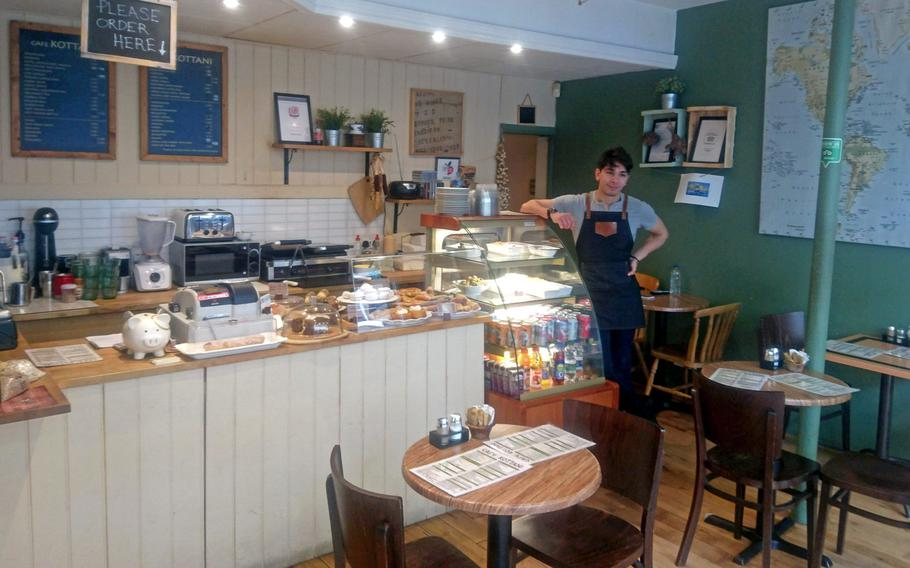 The interior and front counter of Cafe Kottani in Bury St Edmunds, England. The family-run restaurant is the perfect place to find healthy Greek and Mediterranean cuisine.