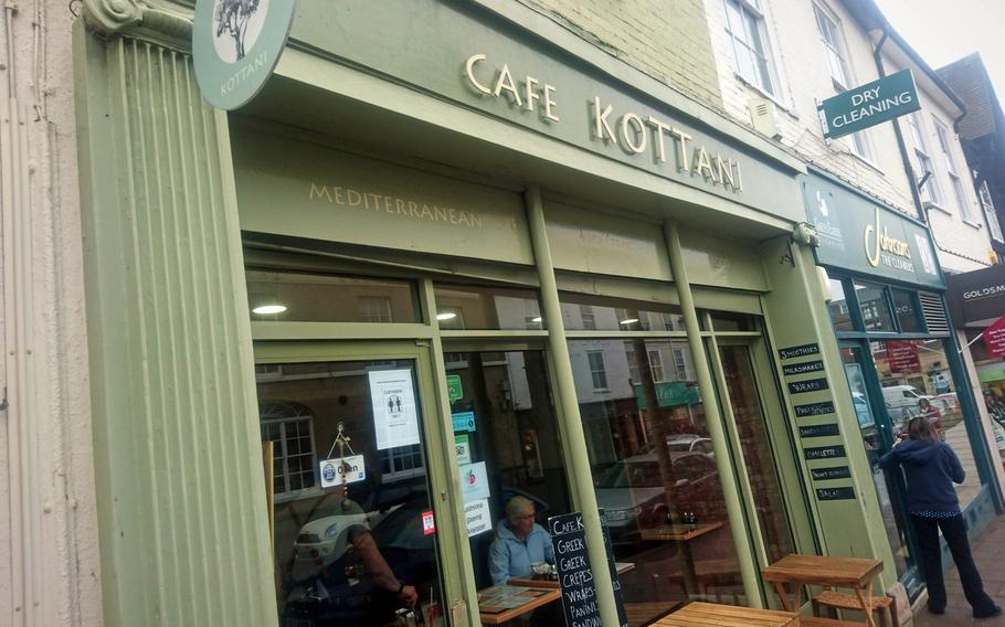 Family-owned Greek restaurant Cafe Kottani in Bury St Edmunds, England. The owners also run Papaki's Deli located next door, which offers a great takeaway option for artisan Greek products, fine foods and sweet treats.