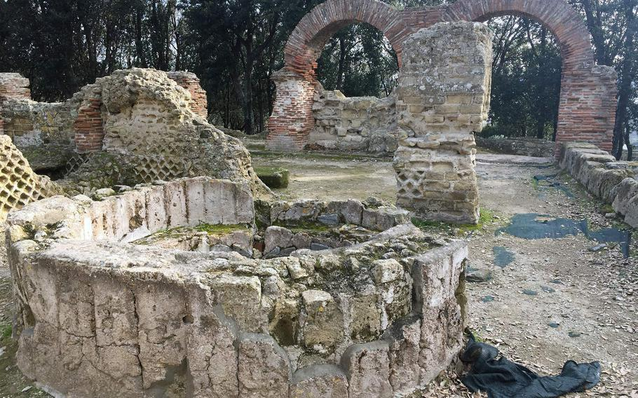 The remains of a basilica that was built on the Greeks' Temple of Zeus at the Cuma archaeological park in Pozzuoli, Italy.
