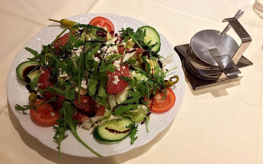 A Greek salad as served at the Parthenon in Otterbach, Germany.