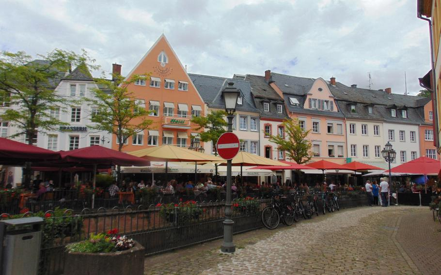 The town of Saarburg, Germany, has more to offer than the waterfall for which it is best known, including this pleasant street of restaurants and shops.