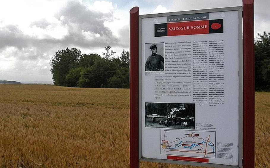 A marker at the spot where the Red Baron, in his triplane, hit the ground and died on April 21, 1918. The location is on the D1 local road between Corbie and Bray-sur-Somme, east of Amiens in northern France.