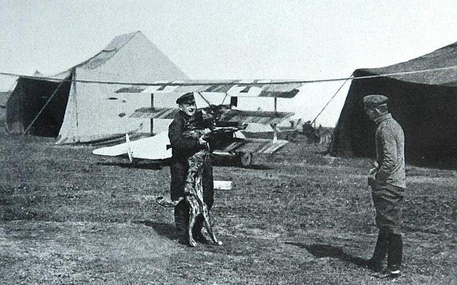 """This photo of Manfred von Richthofen, better known as the Red Baron, was found in a biography of him from 1941, purchased at a flea market. The caption reads: """"Richthofen, minutes before his last flight."""""""