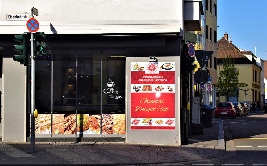 Oriental Delight Cafe occupies a prime location on a busy intersection in downtown Kaiserslautern, Germany. The site comes with built-in competition, however, in the form of the Barbarossa Bakery across the street.