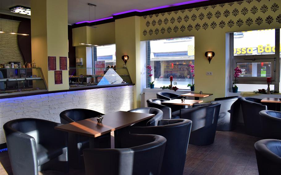 The comfortable interior of Oriental Delight Cafe in Kaiserslautern, Germany, provides a suitable setting to enjoy the restaurant's wide variety of delicious pastries.