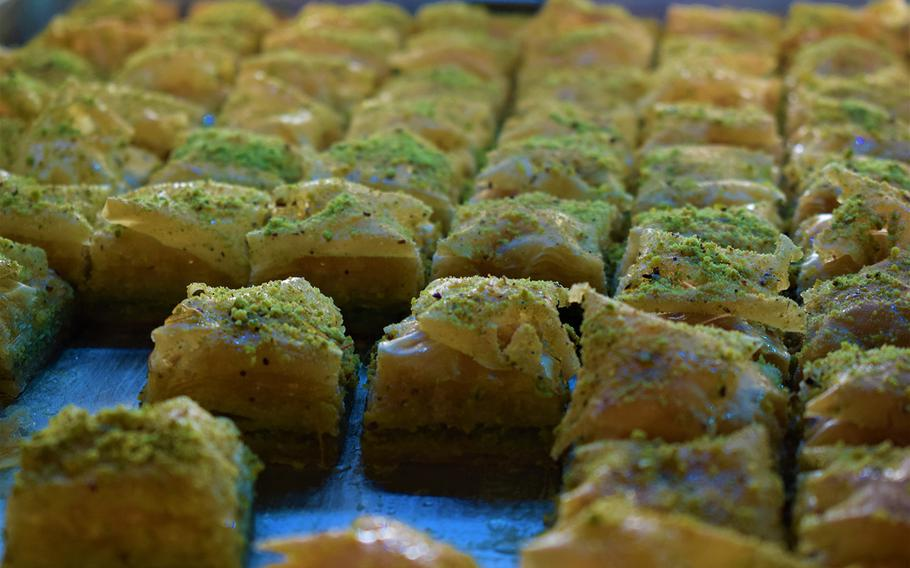 A tray of baklava is displayed at Oriental Delight Cafe in Kaiserslautern, Germany. The new eatery offers the ubiquitous treat along with several other similar versions of the sticky pastry.