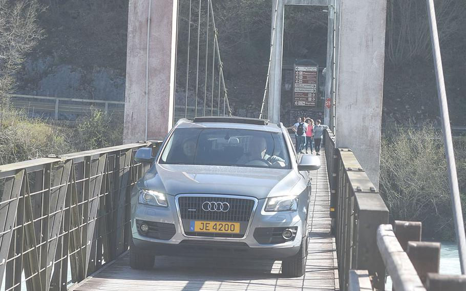This European-built car didn't have a lot of trouble navigating one of the narrow bridges around Lake Barcis. But many wider American-made cars would.