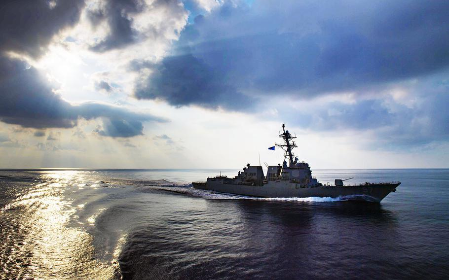 The USS Halsey transits the Indian Ocean in late last month. The guided-missile destroyer is now taking part in anti-submarine warfare drills with Thailand.