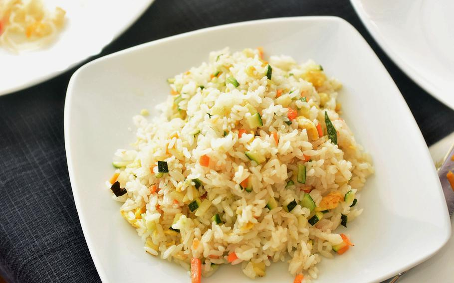 A plate of vegetable fried rice costs 3.50 euros at Tai Ji Food Fusion Restaurant in Aviano, Italy.