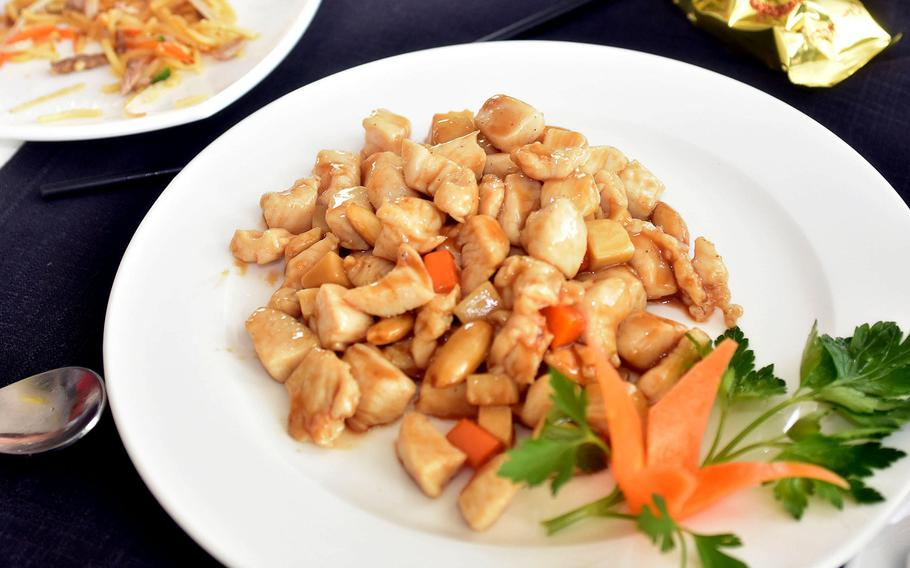This dish of almond chicken was served during a recent visit to Tai Ji Food Fusion Restaurant in Aviano, Italy. As is typical in Chinese restaurants in Italy, if you order a dish such as almond chicken, that's essentially what you get. Don't expect vegetables unless you're ordering vegetables.