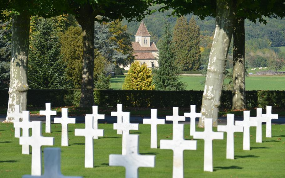 The Belleau church as seen from the Aisne-Marne American Cemetery. The town's original church was destroyed by 26th Division artillery, but the Americans promised to rebuild the church and it was dedicated in 1929.