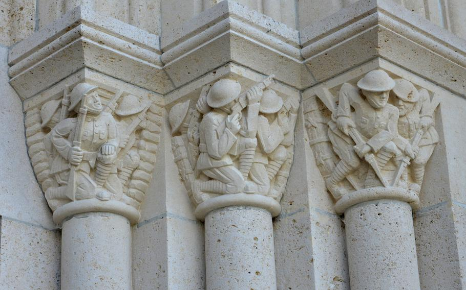 These carvings on the Aisne-Marne American Cemetery chapel depict soldiers fighting in the trenches.