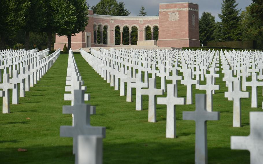 The Memorial at the Oise-Aisne American Cemetery outside of Seringes-et-Nesles, France, features a chapel and a map room on each end of its structure. There are 6,012 servicemembers buried here.