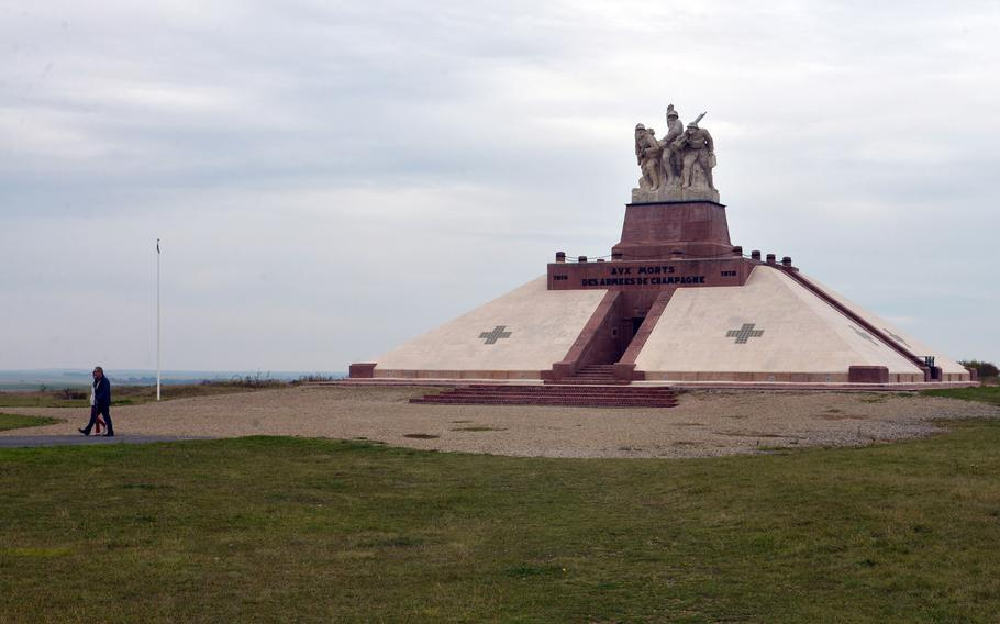 The Navarin Monument honors the soldiers who fought in the battles of the Champagne region during World War I. It is topped by a statue of three soldiers by the sculptor Maxime Real Del Sarte that depict his brother who fell in battle, French general Henri Gouraud and Lt. Quentin Roosevelt, Teddy Roosevelt's son, who also fell in battle. Inside is a chapel and ossuary that holds the remains of 10,000 soldiers.