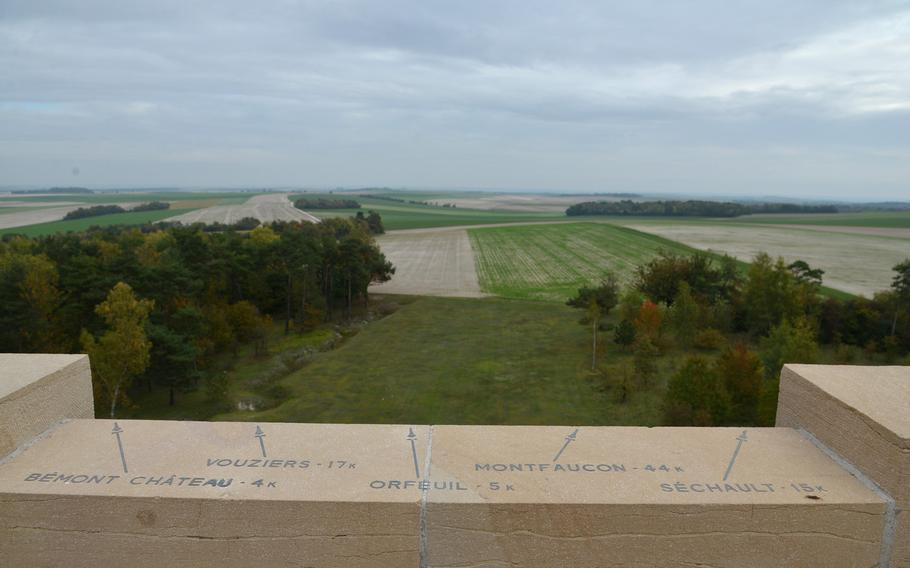 A view from the viewing platform of the Sommepy American Monument over the battlefields of World War I. One of the arrows points to Montfaucon, where there is another American monument.
