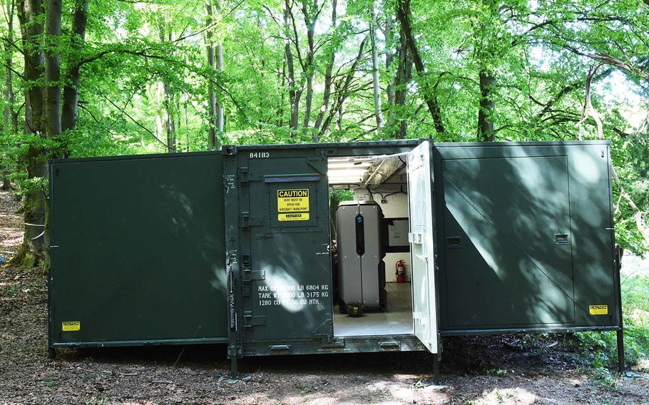 The Army's Rapid Fabrication via Additive Manufacturing 3D- printing unit, is being used at the Combined Resolve exercise in Hohenfels, Germany, Tuesday, May 8, 2018.