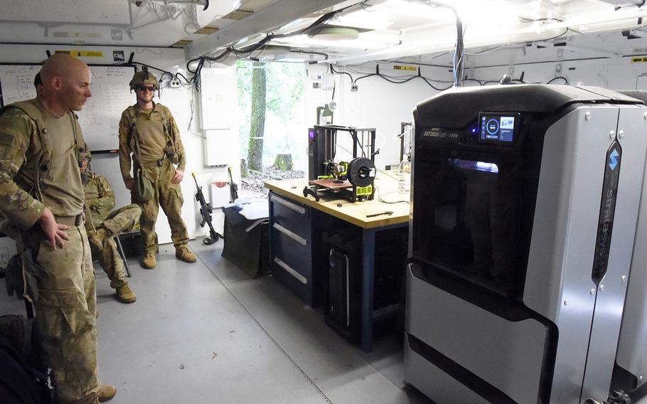 Inside the Rapid Fabrication via Additive Manufacturing 3D-printing unit at the Combined Resolve exercise, Hohenfels, Germany, Tuesday, May 8, 2018.