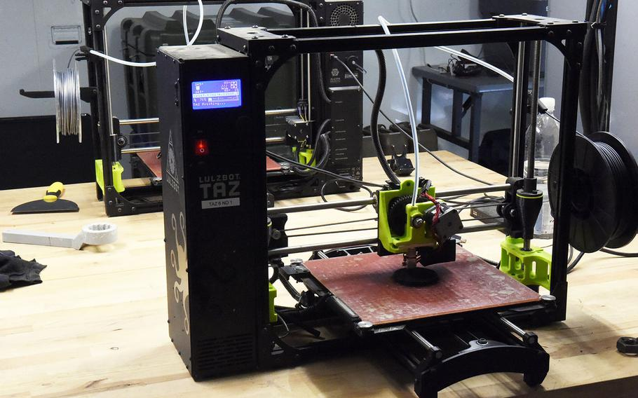 Shown here is one of the 3D printers inside the the Rapid Fabrication via Additive Manufacturing 3D-printing unit at the Combined Resolve exercise, Hohenfels, Germany, Tuesday, May 8, 2018.