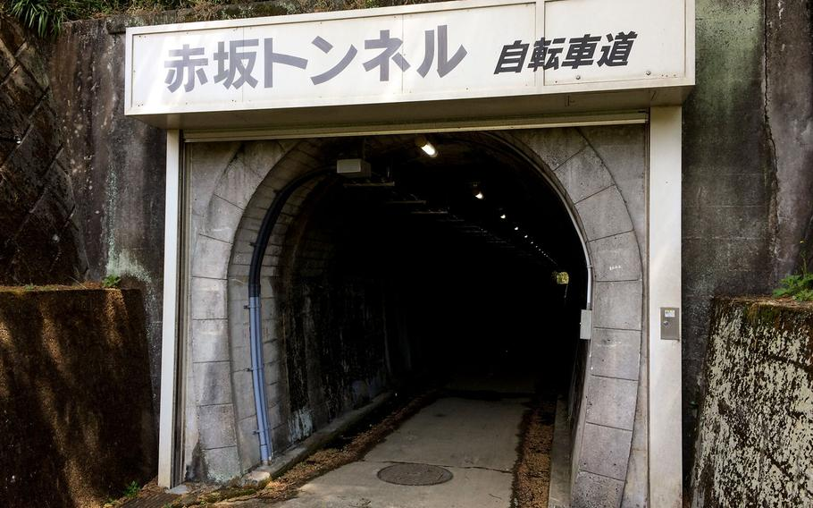 Once light rail tunnels for transporting building materials to a dam, these tunnels now add an exciting change of pace to bicycling trails near Yokota Air Base.
