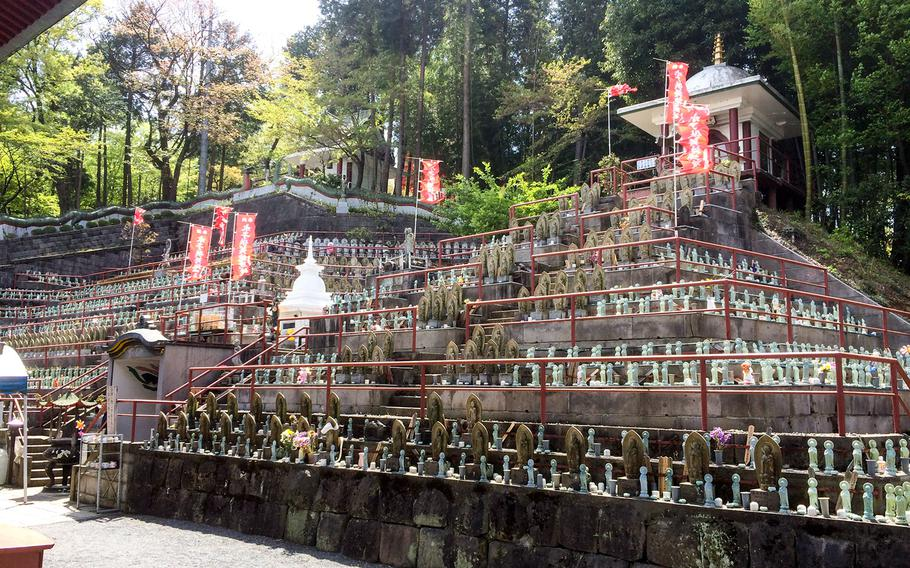 A Japanese cemetery, made up of terraced rows of stone memorials on a hillside, can also be found at the Buddhist temple near the Seibu Dome.