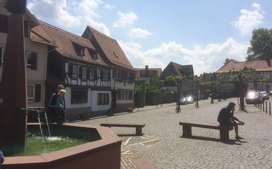 Oberursel, Germany's central plaza, the Marktplatz. Oberursel's old city hall, built on this plaza in the 15th century, is a fine example of traditional German architecture.