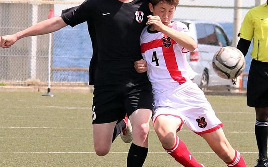 Cael Bowen, right, and a staunch defense has helped Nile C. Kinnick to a DODEA-Japan tournament title and a 19-1-1 record this season.