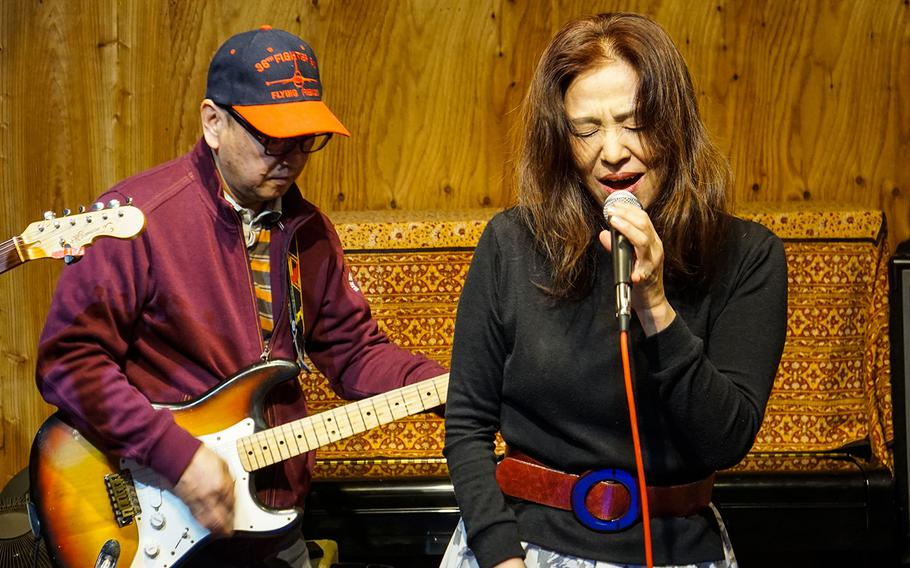 Yuko Fukuyama sings a blues number at Cafe de Noel's blues and rock night in western Tokyo on March 23, 2018.
