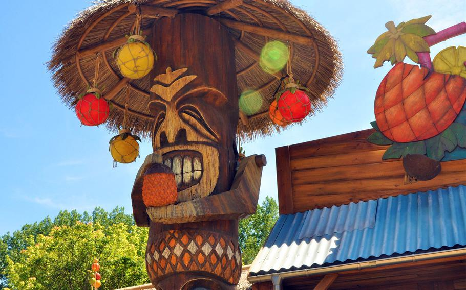 A tiki statue is a typical decoration in Exotic World, a newly opened area of the Walibi Belgium theme park in Wavre, Belgium.