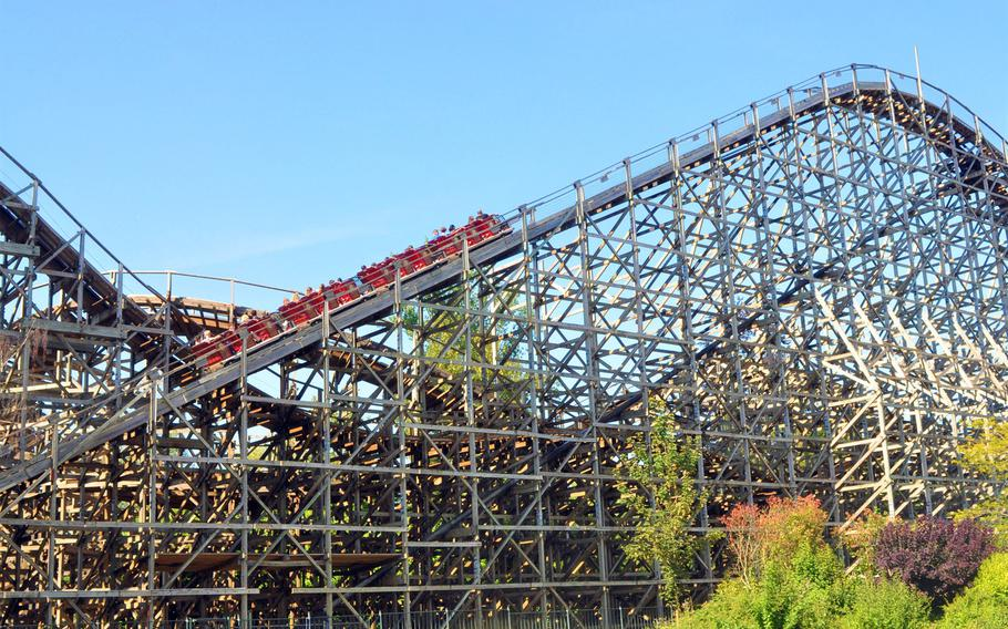 The wooden roller coaster Loup-Garou, or Werewolf, is one of the signature thrill rides to be found at Walibi Belgium, a theme park in Wavre, Belgium.