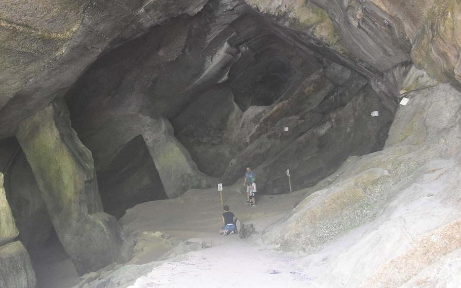The large cave at the entrance to Grotte Caglieron looks foreboding from the outside, but it's not very deep.