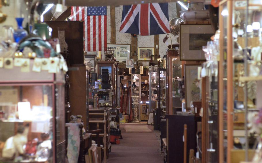 Interior of the Risby Barn Antique Centre in the village of Risby, England. More than 40 dealers offer a wide range of antiques and collectibles.