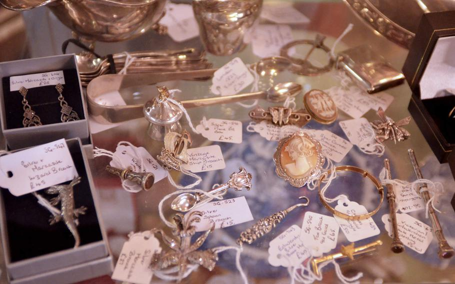 A collection of jewelry for sale at the Risby Barn Antique Centre in the village of Risby, England.