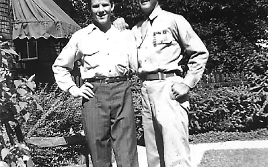 Bill York, 16, and Sgt. John R. York, 18 (in uniform).