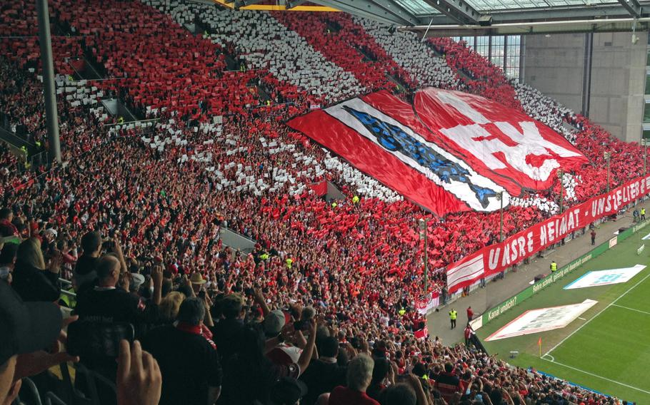 The Westtribune, the fans' grandstand at the legendary Fritz Walter Stadion before the start of a 1. FC Kaiserslautern soccer game.The team has been relegated to the third division this year, but it can still expect the league's highest fan turnout. The stadium was used during the 2006 World Cup, where the U.S. and Italy played to a 1-1 tie.