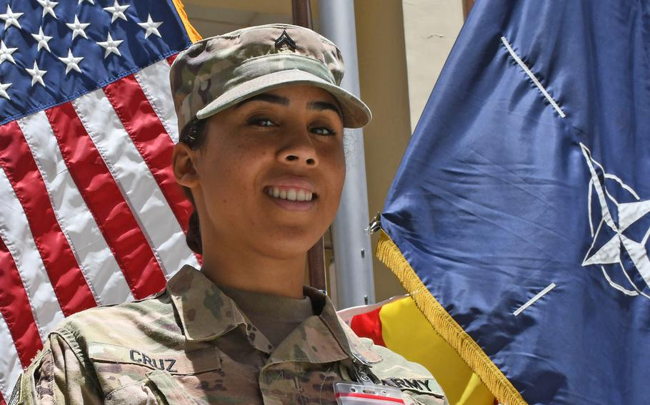 Army Cpl. Ruby Cruz celebrates Independence Day at NATO's Resolute Support headquarters on Wednesday, July 4, 2018. Cruz, 24, with the Puerto Rico Army National Guard, deployed to Afghanistan after Hurricane Maria devastated the island last fall.